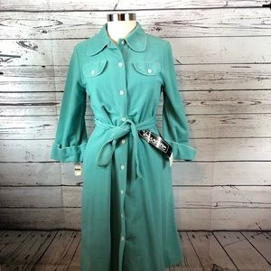 Vassarette vintage button up robe mint green NWT